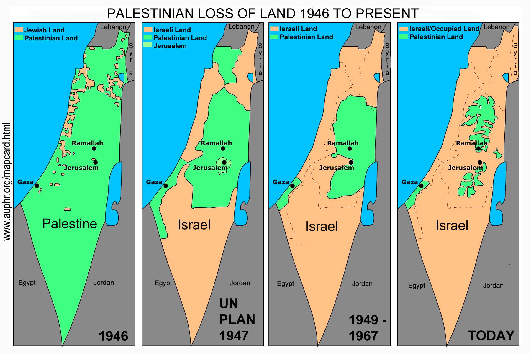 . map card of disappearing palestine